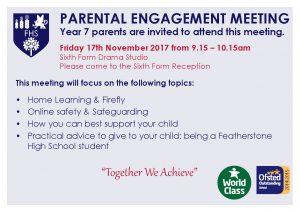 Year 7 Parental Engagement Meeting: 17th Nov